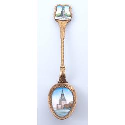 Metāla karote ar emalju un Maskavas kremļa attēlu