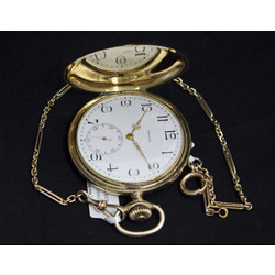 Zelta kabatas pulkstenis Zenith ar ķēdi