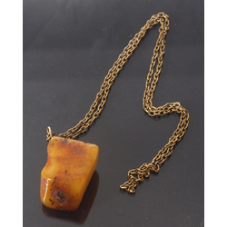 Metal necklace with Baltic amber chain, 21.36 g