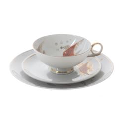 """Porcelāna tasīte ar apakštasīti un šķīvi """"Zivs"""