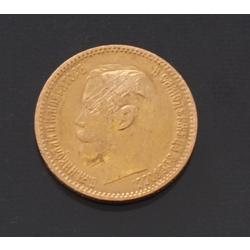 Zelta 5 rubļu monēta, 1900