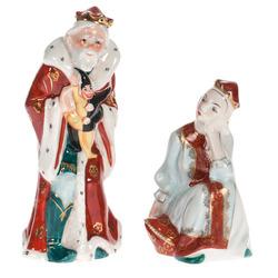 "Porcelāna figūru pāris ""Karalis Zirnis(Cars Gorohs) un carameita Nesmejana"""