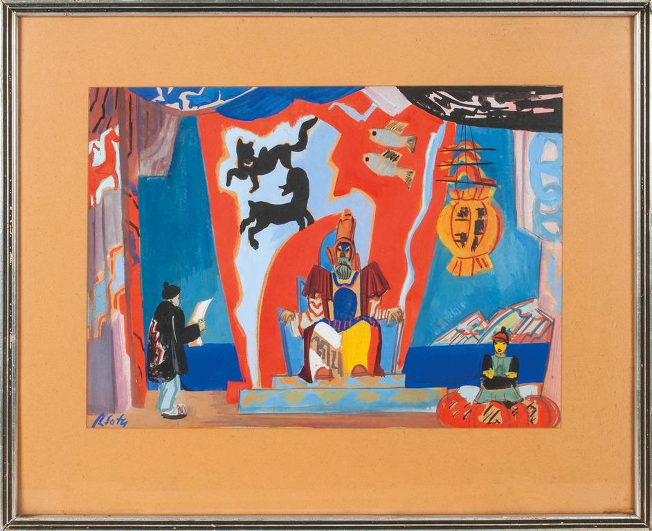 "Scenogrāfija skice Karlo Goci lugai ""Princese Turandota"", kas 1926. gadā tika uzvesta Jelgavas Strādnieku teātrī"