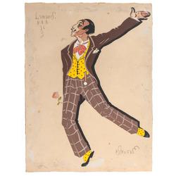 "Leimaņa kostīma skice Falla baletam ""Fantastiskās lelles"""