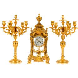 Zeltītas bronzas pulkstenis ar svečturiem
