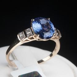 Zelta gredzens ar tanzanītu un dimantiem