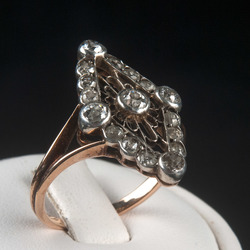 Zelta, sudraba gredzens ar 17 briljantiem