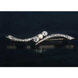 Baltā zelta broša ar briljantiem, dimantiem un pērli