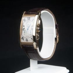 Cartier zelta rokas pulkstenis ar ādas siksniņu