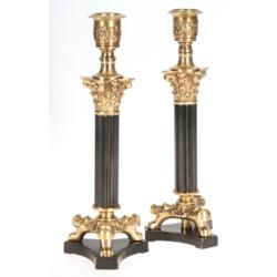 Divi bronzas ampīra stila svečturi
