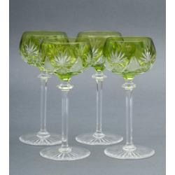 Kristāla šampanieša glāzes zaļā krāsā (4 gab.)