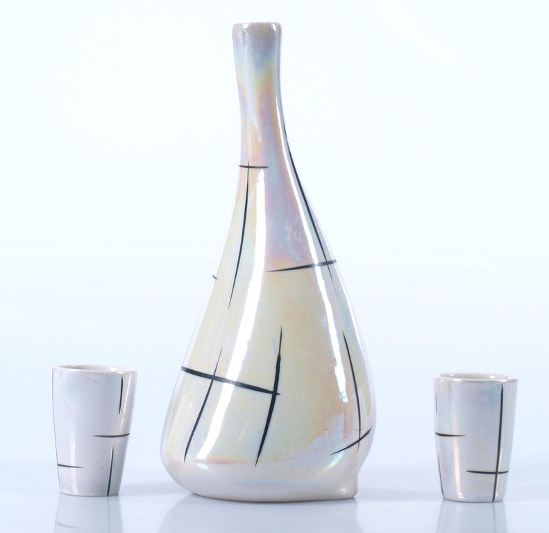 Porcelain decanter with two glasses