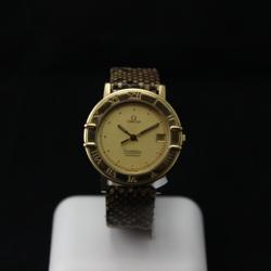 Omega zelta pulkstenis ar ādas siksniņu