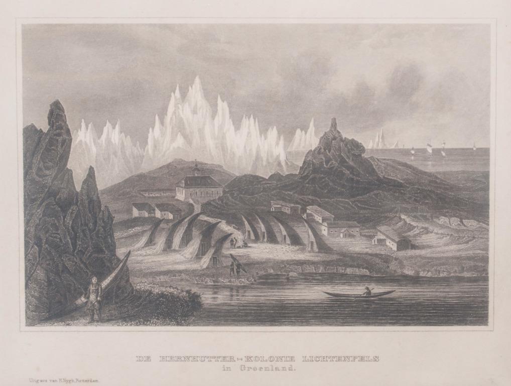"""Litogrāfija """"Hernhūtiešu kolonija Grenlandē"""""""