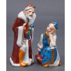 """Porcelāna figūru pāris """"Karalis Zirnis un princese Nesmejana"""""""