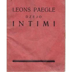 "Leons Paegle ""Dzejo Intīmi"""
