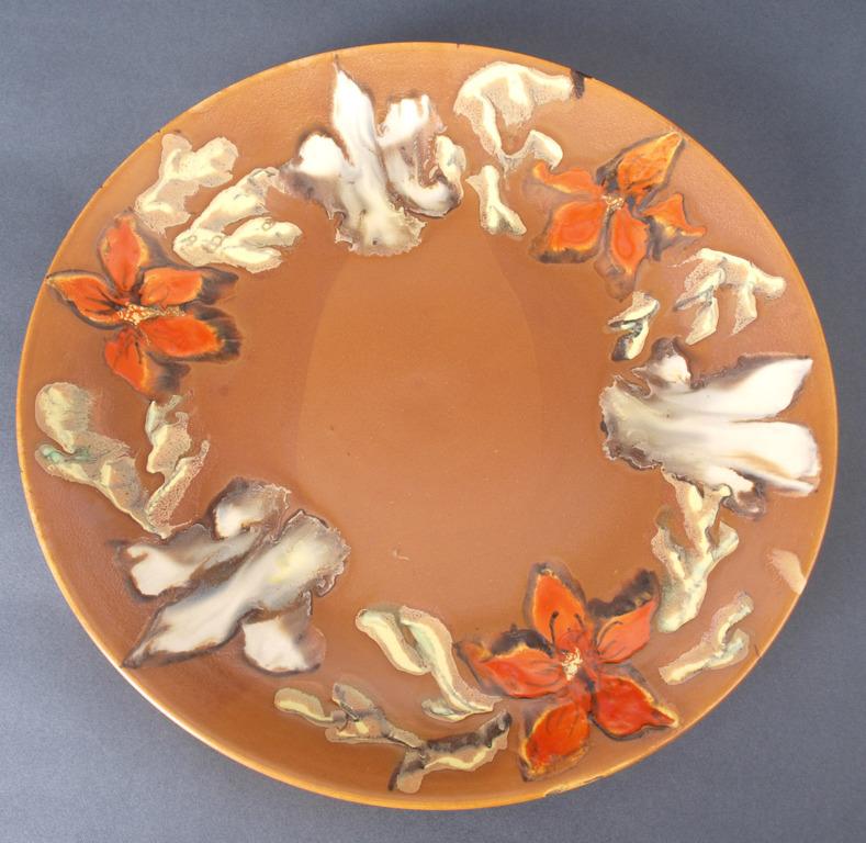"""Dekoratīvs keramikas sienas šķīvis """"Ziedi"""""""