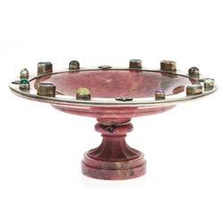 Rodonīta trauks-dekors ar metāla apdari