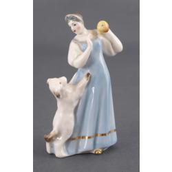 """Porcelāna figūriņa """"Cariene ar ābolu un suni"""""""