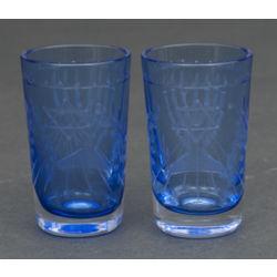 Stikla glāzes ar ebreju simboliku(2 gab.)