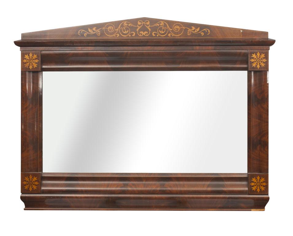 Bīdermeijera stila sarkankoka sienas spogulis
