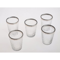 Stikla degvīna glāzītes ar sudraba apdari( 5 gab.)