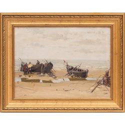 Zvejnieku laivas un zvejnieki jūras krastā