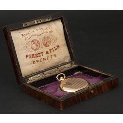 Zelta kabatas pulkstenis Perret & Fils Brenets oriģinālajā kastītē