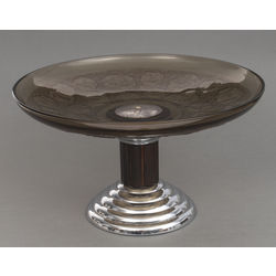 Silver plated metal utensil with glass for fruits
