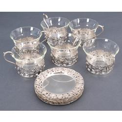 Sudraba tējas komplekts - 6 glāzītes, 6 tasīšu turētāji, 6 apakštasītes