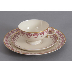 Porcelain cup with saucer and dish
