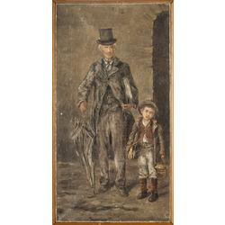Мужчина с цилиндром и мальчиком
