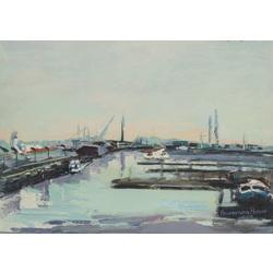 Riga's harbor in the spring