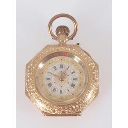 Sieviešu zelta kabatas pulkstenis ar emalju