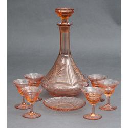 Krāsainā stikla komplekts - karafe, 6 glāzītes, 1 šķīvītis