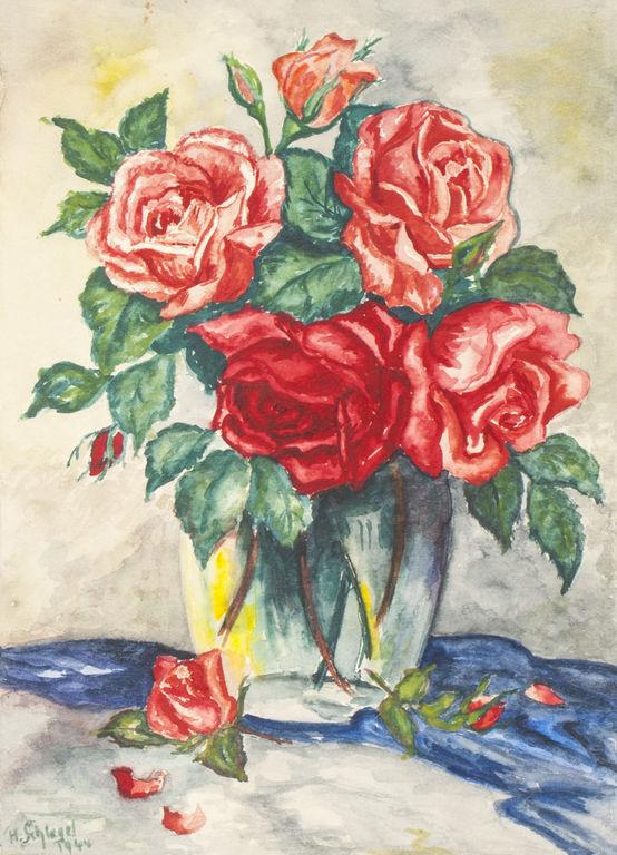 Klusā daba ar rozēm