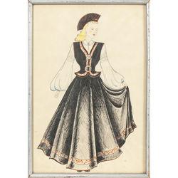 Kurzemes tautas tērpa skice