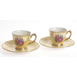 Couple of porcelain cup with saucer