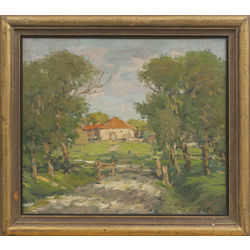 Landscape with a red house