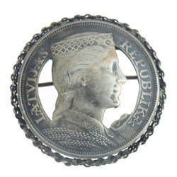Silver pin-brooch made of five lats coin