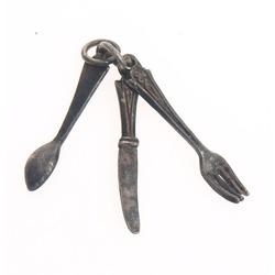 Silver pendant - miniature tableware