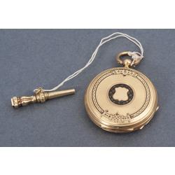 Zelta kabatas pulkstenis ar emalju un zelta atslēdziņu