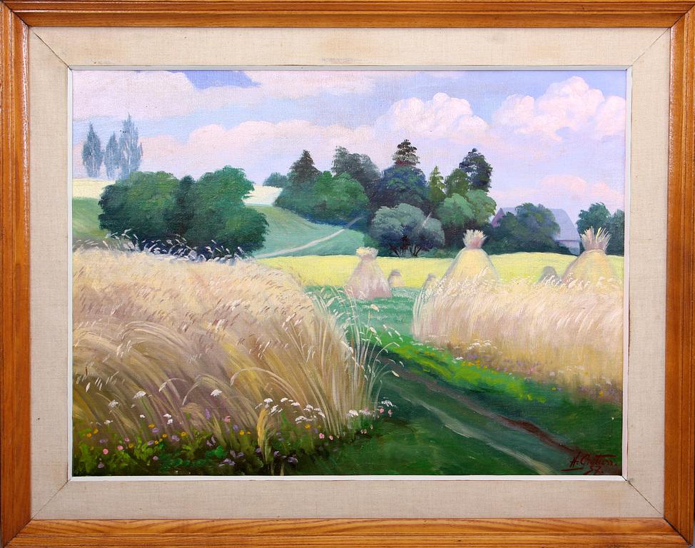 Vasaras ainava ar labības lauku