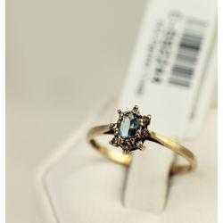 Zelta gredzens akvamarīnu, briljantiem