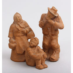 Porcelāna figūriņas (3 gab.) - Puisēns, saimniece un izsalcis vīrs