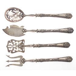 Sudraba galda piederumu komplekts - karote, dakša,  nazis un lāpstiņa