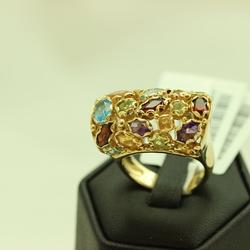 Zelta gredzens ar 4 peridotiem, 5 citrīniem, 4 topāziem