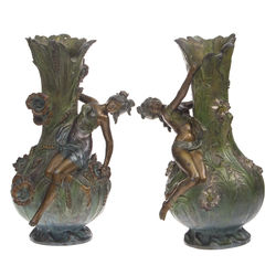 Metal vase's with women's figures and flower theme(couple)