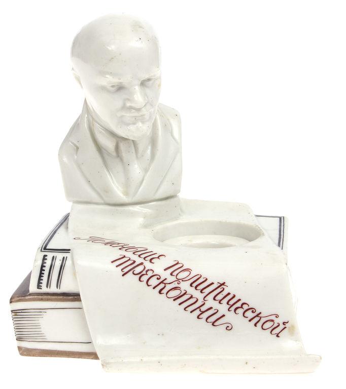 Porcelāna aģitācijas tintnīca ar Ļeņina krūšutēlu