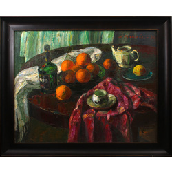 Still life with oranges on the round table